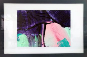 Print on Glass of Modern Art By Sarah Jane with White and Black Border - Colour me Happy X