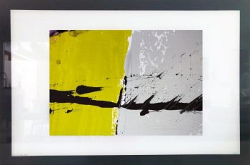 Print on Glass of Modern Art By Sarah Jane with White and Black Border - Cozzie VIIb