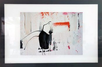 Print on Glass of Modern Art of a black cat By Sarah Jane with White and Black Border - On the Move XXIX