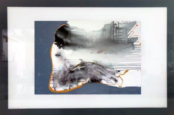 Print on Glass of Modern Art woman sitting By Sarah Jane with White and Black Border - Wind of Change I