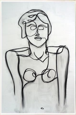 Print on Glass of a 1920s woman By Artist Sarah Jane with Thin White Border - Linear II