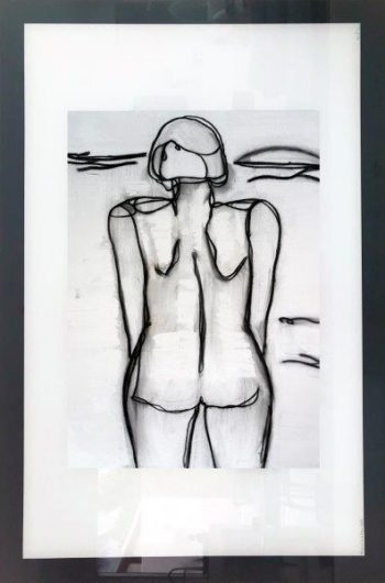 Print on Glass of a woman at the beach By Adelaide Artist Sarah Jane with White and Black Border - Linear III