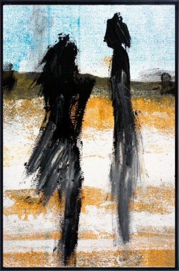 Print on Glass with Abstract Art By Abstract Artist Sarah Jane with Thin Black Border - Boardwalk V