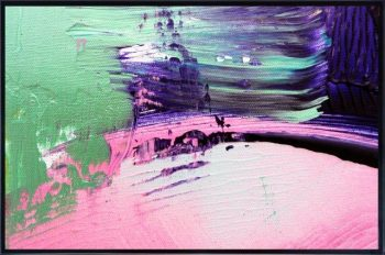 Print on Glass with Abstract Art in mixed colour tones By Adelaide Artist Sarah Jane with Thin Black Border - Colour me Happy IX