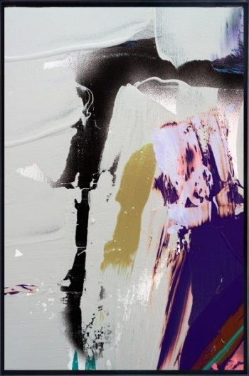 Print on Glass with Abstract Art in neutral colours By Adelaide Artist Sarah Jane with Thin Black Border - Colour me Happy XVId