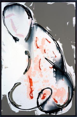 Print on Glass with Abstract Art of a man By Adelaide Artist Sarah Jane with Thin Black Border - Double Entendre I