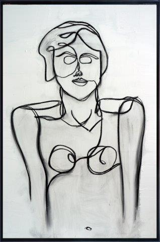 Print on Glass with Abstract Art of a woman By Adelaide Artist Sarah Jane with Thin Black Border - Linear II