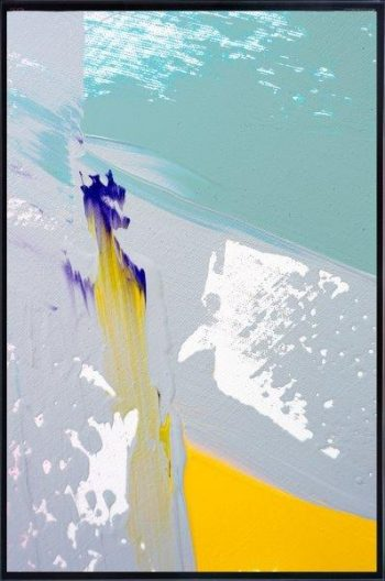 Print on Glass with Abstract Art of the beach By Adelaide Artist Sarah Jane with Thin Black Border - Colour me Happy VIId