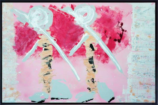 Print on Glass with Abstract Art of tribal people By Adelaide Artist Sarah Jane with Thin Black Border - Wanderers I