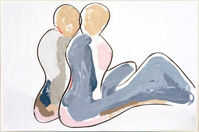 Print on Glass with Contemporary Art By Australian Artist Sarah Jane with Thin White Border - Bodyline II