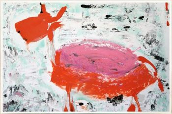 Print on Glass with Contemporary Art of an animal By Australian Artist Sarah Jane with Thin White Border - Goatey I