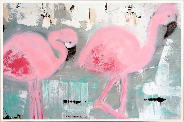 Print on Glass with Contemporary Art of flamingos By Australian Artist Sarah Jane with Thin White Border - On the Move II