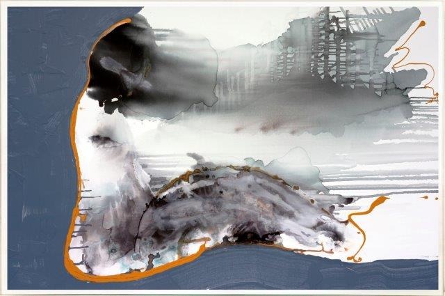 Print on Glass with Contemporary Art woman sitting By Australian Artist Sarah Jane with Thin White Border - Wind of Change I