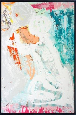 Print on Glass with Trendy Abstract Art By Adelaide Artist Sarah Jane of a couple with Thin Black Border - Reaching Out I