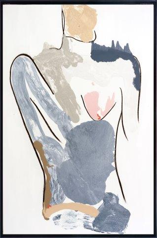 Print on Glass with soft colours of a body By Adelaide Artist Sarah Jane with Thin Black Border - Bodyline I