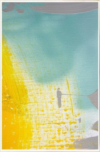 Print on Glass with yellow and blue colour tones By Artist Sarah Jane with Thin White Border - Colour me Happy VI