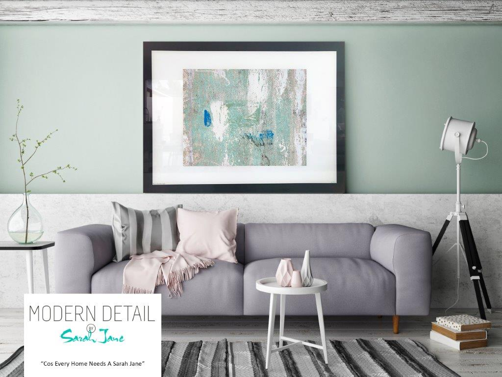 Sarah Jane Abstract Art Print on Glass with cool colour tones - Boardwalk IIIe