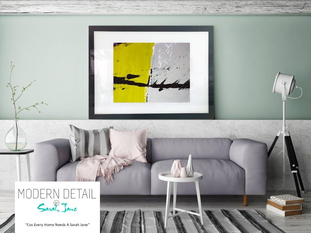 Sarah Jane Art Print on Glass with Yellow and Grey Colour Tones - Cozzie VIIb