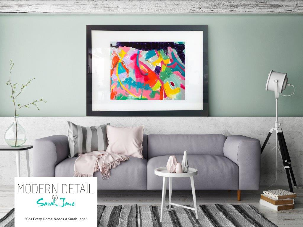 Sarah Jane Art Print on Glass with bright tones - Colour me Happy I
