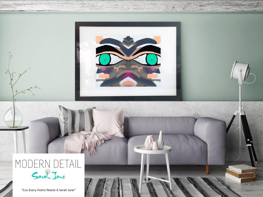 Sarah Jane Art Print on Glass with colourful tones on a face - Being Watched Ifff