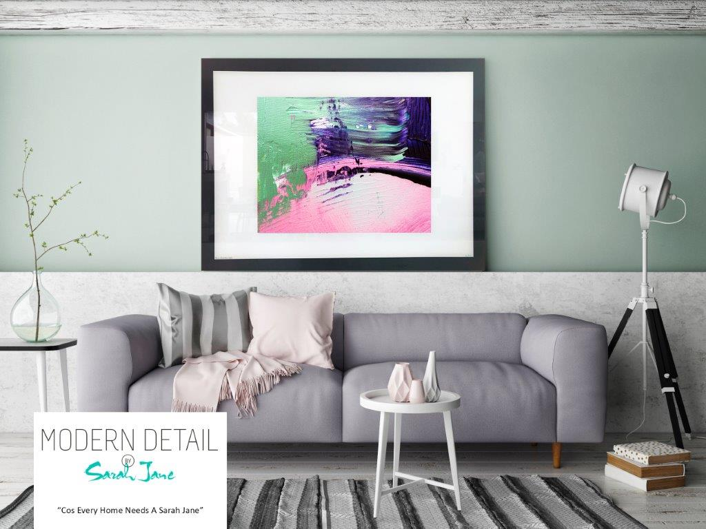 Sarah Jane Art Print on Glass with green purple and pink tones - Colour me Happy IX