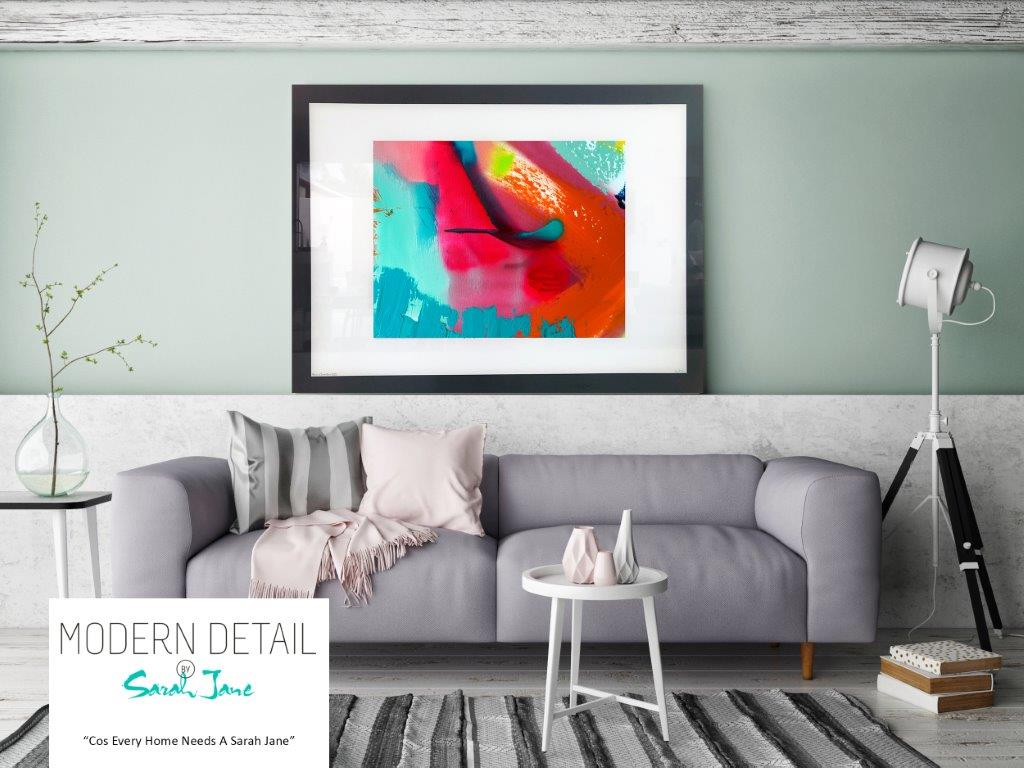 Sarah Jane Art Print on Glass with warm and cool colour tones - Colour me Happy V