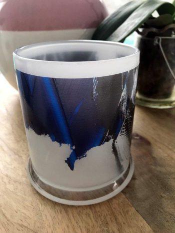 Sarah Jane Art on Glass Candleholder - Anonymous III Back View