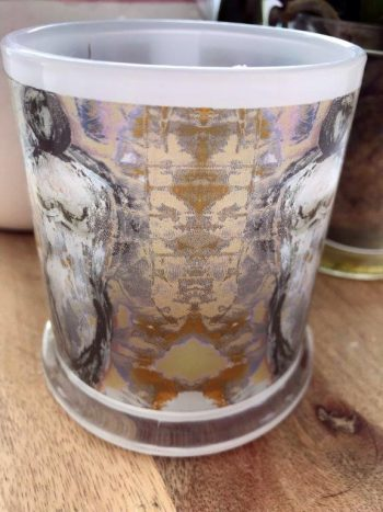 Sarah Jane Art on Glass Candleholder - Anonymous XXId Back View