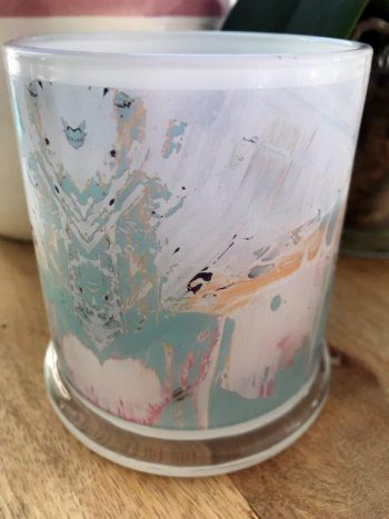 Sarah Jane Art on Glass Candleholder - Feathers LIIIc Back View