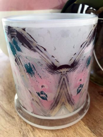 Sarah Jane Art on Glass Candleholder - One of Us VIc Back View