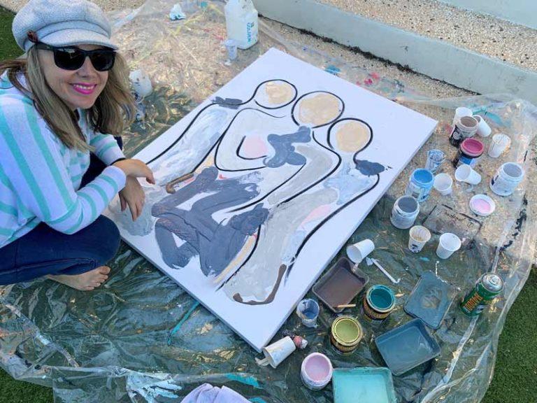 sarah jane artist loves painting outside - bodyline xi cotemporary artwork