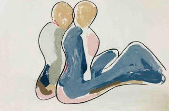 Sarah Jane Australian Artist Original Modern Painting of a couple sitting Named Bodyline II
