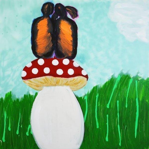 Sarah Jane Australian Artist exhibits an Original Modern Painting of a kids sitting on a fungi called Magical Fields