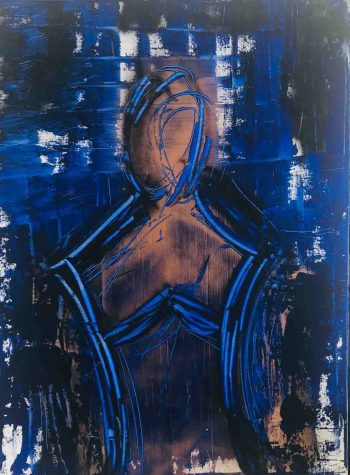 Sarah Jane Australian Artist exhibits an Original Modern Painting of a man named Faceless