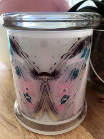 Sarah Jane Candle featuring Abstract Artwork - One of Us VIc Back View