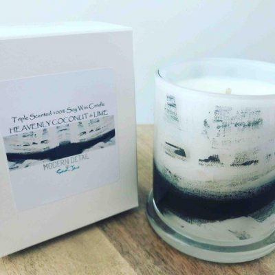 Sarah Jane Candle with black and white abstract art - Warrior XIII