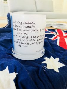 Sarah Jane Candleholder called Australia noting Waltzing Matilda lyrics