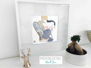 Sarah Jane Contemporary Art Print of a body called Bodyline I in a small white shadowbox frame - Modern Detail By Sarah Jane
