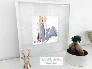 Sarah Jane Contemporary Art Print of a couple called Bodyline II in a small white shadowbox frame - Modern Detail By Sarah Jane