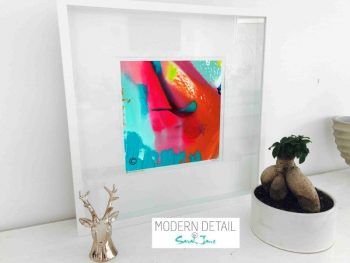 Sarah Jane Modern Art Print called Colour me Happy V in a small white shadowbox frame - Modern Detail By Sarah Jane