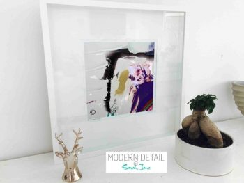 Sarah Jane Modern Art Print called Colour me Happy XVId in a small white shadowbox frame - Modern Detail By Sarah Jane