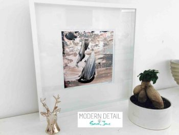 Sarah Jane Modern Art Print called Feathers Lb in a small white shadowbox frame - Modern Detail By Sarah Jane