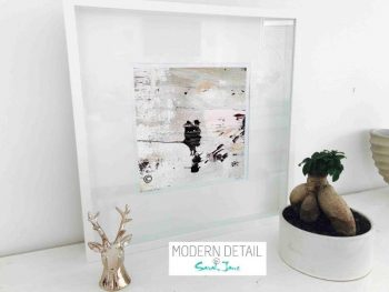 Sarah Jane Modern Art Print called Feathers VIIb in a small white shadowbox frame - Modern Detail By Sarah Jane
