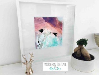 Sarah Jane Modern Art Print called Feathers Va in a small white shadowbox frame - Modern Detail By Sarah Jane