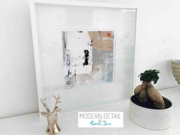 Sarah Jane Modern Art Print called Feathers XIVa in a small white shadowbox frame - Modern Detail By Sarah Jane