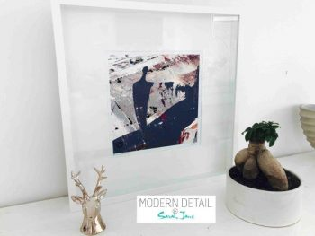 Sarah Jane Modern Art Print called Feathers XVIIa in a small white shadowbox frame - Modern Detail By Sarah Jane