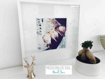 Sarah Jane Modern Art Print called Feathers XXIIa in a small white shadowbox frame - Modern Detail By Sarah Jane