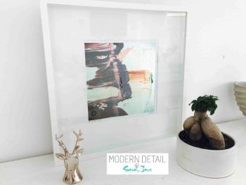 Sarah Jane Modern Art Print called On the Move Lb in a small white shadowbox frame - Modern Detail By Sarah Jane