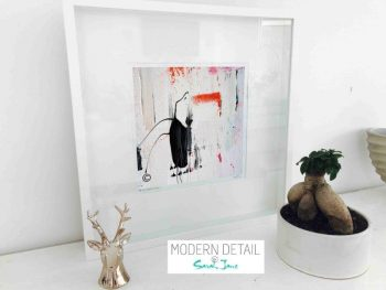 Sarah Jane Modern Art Print called On the Move XXIX in a small white shadowbox frame - Modern Detail By Sarah Jane