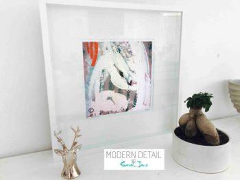 Sarah Jane Modern Art Print called Reaching Out XXVa in a small white shadowbox frame - Modern Detail By Sarah Jane